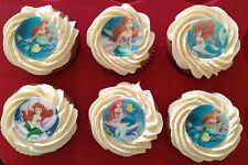 12 x 4cm The Little Mermaid Ariel Edible Cupcake Toppers - PRECUT
