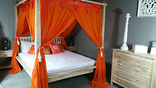 Four Poster Bed Muslin Canopy Mosquito Net 155cmx205cm Orange Queen Size