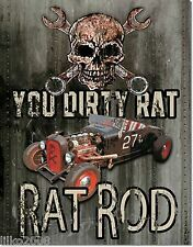 RAT RODS/ HOT ROD- DIRTY RAT; ANTIQUE-STYLE METAL WALL SIGN 40X30cm SKULL,USA