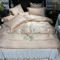 Luxury Satin Silk Cotton Flowers Embroidery Bedding Set Cover Bed Lace Bedskirt