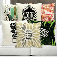 "18"" Cotton Linen Letter Printing Pillow Case Sofa Waist Cushion Cover Home Decor"