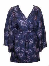 Natori Classics Blue Purple Flower Print Kimono Robe Wide Sleeves w Belt Small