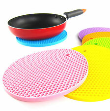 Silicone Table Mat Placemat Non-slip Pan Pot Holder Round Durable Heat Resistant