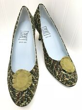 """Cynthia Rowley Women's Green Fabric Pumps 3"""" Heels Leather Lined Sz 9B EXCELLENT"""