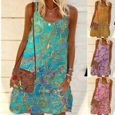 Women Summer Casual Crew Neck Floral Slim Holiday Sleeveless Loose Slip Dress