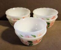 6 Vintage 1954 Fire King Peach Blossom Custard Cups Scalloped Gay Fad Studio 6oz