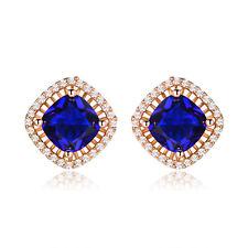 HUCHE Navy Blue Sapphire Yellow Gold Filled Studs Women Party Banquet Earrings