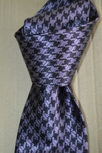 "$250 NWOT TOM FORD Vibrant Purple houndstooth men's 4"" woven silk tie Italy"
