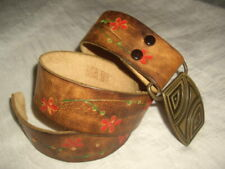 Girl's Tooled Brown Leather Belt with Red Flowers Floral 29 Inches Long