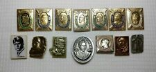 Vintage Set 14 Pin Badge Great Famous People Cultures Ethnicities Soviet Ussr A