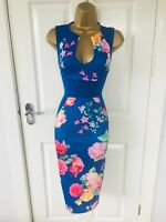 Royal Blue Floral Evening Party Bodycon Occasion Midi Wiggle Pencil Dress £65