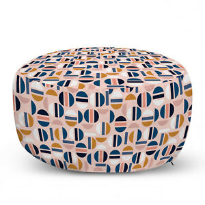 Ambesonne Abstract Ottoman Pouf Decor Soft Foot Rest & Removable Cover
