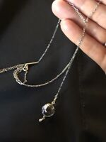 "Pools of Light Pendant; Rock Crystal & Antique 30""Lorgnette Chain-Sterling"