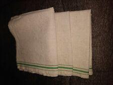 3 Antique Unused Linen Kitchen Towel Green Stripes Free Ship!