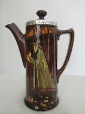 Royal Doulton Kingsware Pied Piper Coffee Pot Sterling Silver Rim