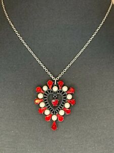 BETSEY JOHNSON Black-Tone Pearl & Red Crystal Heart Pendant Necklace NWT $42