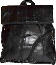 New Flat Leather backpack, day-pack, Nap sac, ruck sack, 2-in-one backpack BNWT
