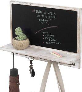 Whitewashed Wood Wall Mounted Entryway Chalkboard Sign w/ Display Shelf & Hooks