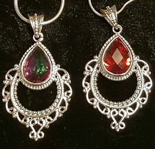 GENUINE 15 KART MYSTIC TOPAZ OR SUN FIRE ORANGE TOPAZ WITH 20 IN STERLING  CHAIN