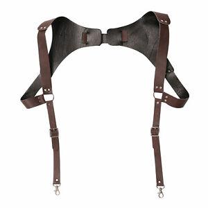Faux Leather Suspender Adjustable Buckle Shoulder Belt Strap Harness for Men