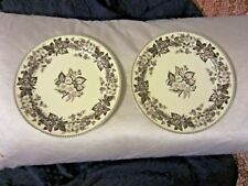 Two's Twos Company Brown Transferware Rose Floral Wall (2) Plates NR