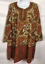 Ocean Breeze Multi Color Flroal Tunic Dress Cover Up 3/4 Sleeve Slits Size Small