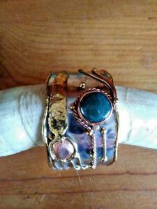 Artisan Handcrafted Metal Adjustable Cuff Bracelet Stainless Steel,Copper,Brass