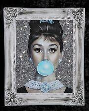 Audrey Hepburn Silver Glitter Lienzo cuadro Shabby Chic Marco, Pared Arte.