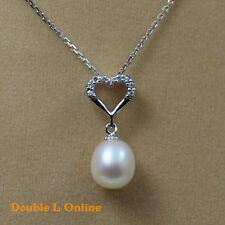 925 silver Natural freshwater pearl necklace & Earrings Sets chain pendant White