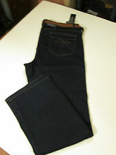 CHAPS SLIMMING FIT STRAIGHT DENIM JEANS WITH BELT PETITE SZ 12 P SHORT-BLUE- NWT