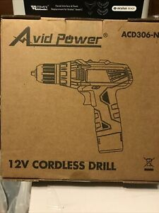 Avid Power 12V Cordless Drill ACD306-N New Open-Box With Drill Bit Set.