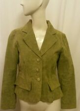 Suede Leather Jacket Coat Blazer HANNAH Peplum Office Casual Green Lined M