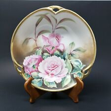 """Antique Nippon Bowl 8"""" Hand Painted Trefoil 3 Handles Pink Cabbage Rose + Gold"""
