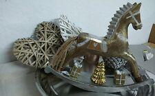 Christmas Rocking Horse Gold 29x23cmsilber Wood Nostalgia Deco Horse Shabby