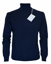 NWT MALO SWEATER pure cashmere turtleneck solid Navy blue luxury Italy L