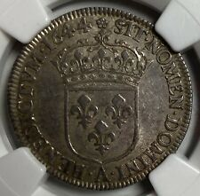 FRENCH COLONIES 1/4 ECU 1644A ROSE KM-161 - NGC AU 58