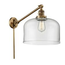 Innovations XL 1 Light Swing Arm, Amber Bulb, Brushed Brass/Bell - 237-BB-G72-L