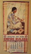 Vintage 1942 GREAT NORTHERN RAILWAY Winold Reiss Sundance Indian Chief Calendar