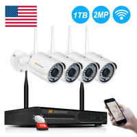 Wifi 1080P 4CH Wireless Security Camera System Outdoor Home HD CCTV NVR 1TB Kit