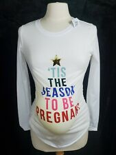 Pregnancy Women Maternity Tis The Season T-Shirt Christmas Top L/S Blouse NWT