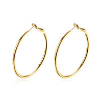 18k Gold Plated Endless Plain Classic Thin Hoop Light Earrings
