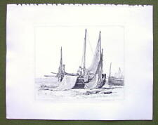 LUGGER BOAT Brighton Beach England - Original Etching print by E.W. Cooke