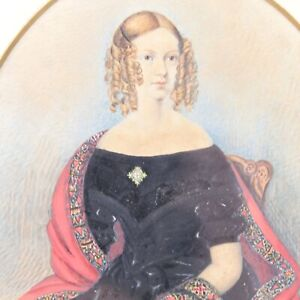 Portrait young lady Victorian painting antique watercolour English School