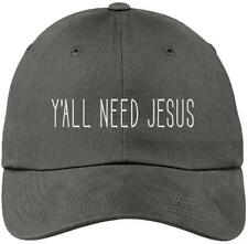 Ya'll Need Jesus Funny Gray Baseball Cap Hat Adjustable Unisex Friend Mom Gift