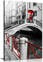 Black & White Red Painting Venice Romantic Canvas Wall Art Picture Print