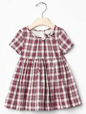 GAP Baby Girls Size 6-12 Months Red / Ivory Festive Plaid Dress w/Full Skirt