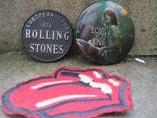 1976 2x Rolling Stones Pin Badges European TourLove You Live plus sew-on patch