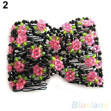 Charming Stretch Rose Flower Bow Glass Bead Hair Head Comb Cuff Double Clip Gift