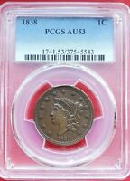 1838 PCGS AU53 Matron or Coronet Head Large Cent Coin 1c