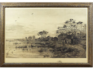 William Alexander Ansted (1859 - 1948) Antique Etching, Flood Time At Eve